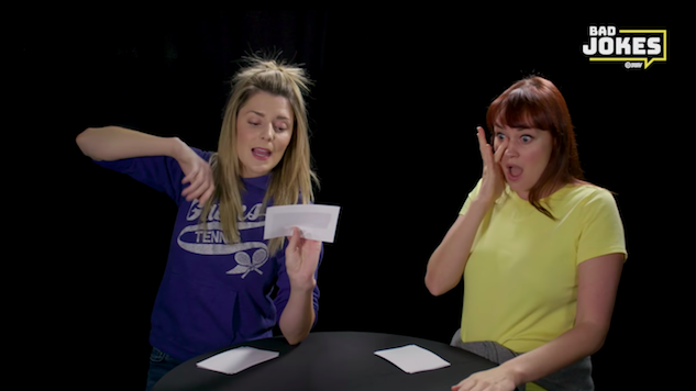 "Watch Grace Helbig and Mamrie Hart Try Not to Laugh in this Exclusive Episode of ""Bad Joke Telling"""