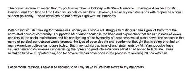 Steve Bannon Benefactor Robert Mercer Steps Down from $50 Billion