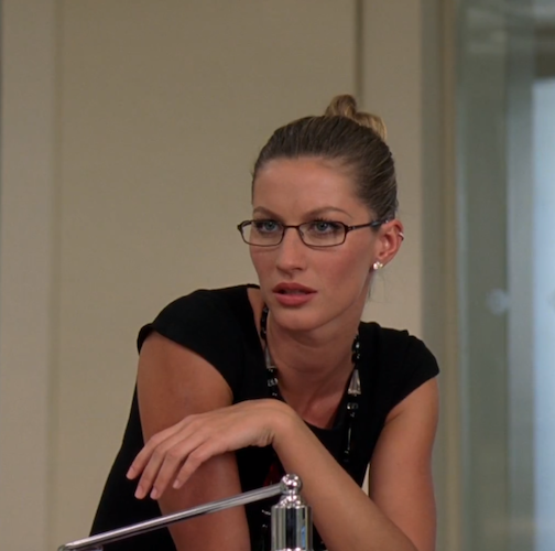 7461acd9c Nothing says another day at the office like light, metal glasses with a  slicked back hair bun. One of many cameos in the film, Gisele Bündchen as  Emily's ...