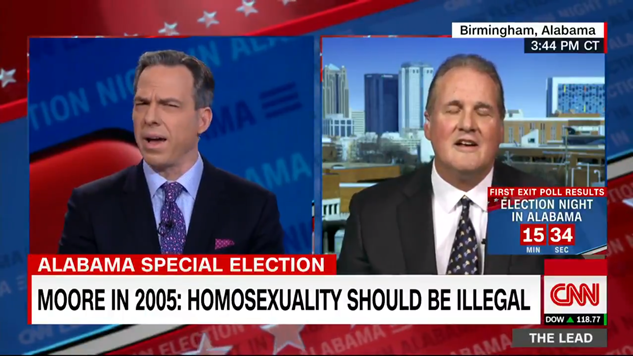 An absolutely insane exchange between Jake Tapper and a Roy Moore spokesman