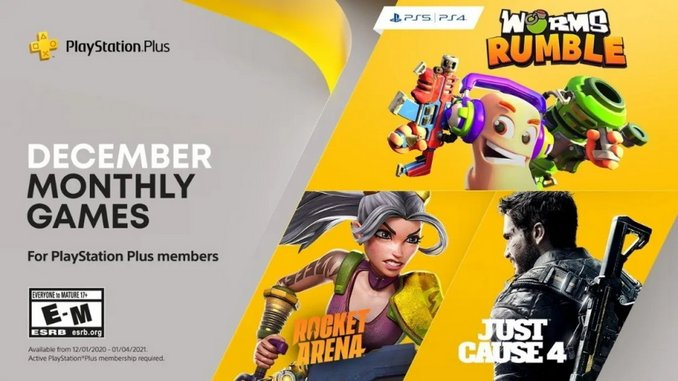 <I>Worms Rumble</I>, <I>Just Cause 4</I>, and <I>Rocket Arena</I> Coming to PlayStation Plus in December