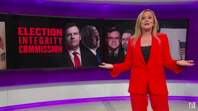 Watch Sam Bee Cover Voter Integrity Commission, Trump Impeachment Rally, Congressional Bro-Fest on Latest <i>Full Frontal</i>