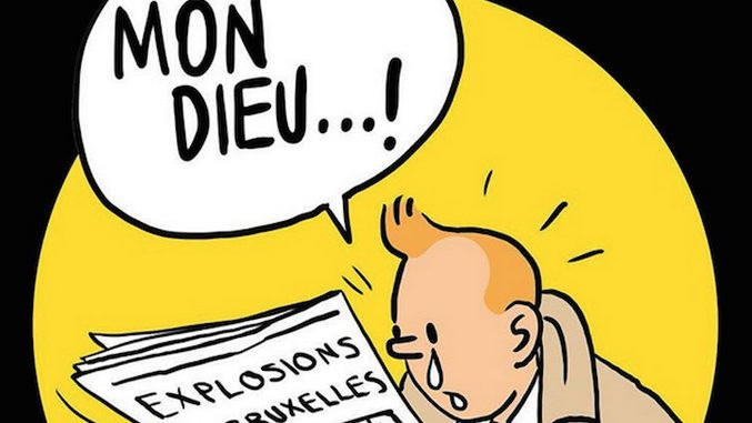 Tintin Mourns The Attacks On His Hometown, Brussels
