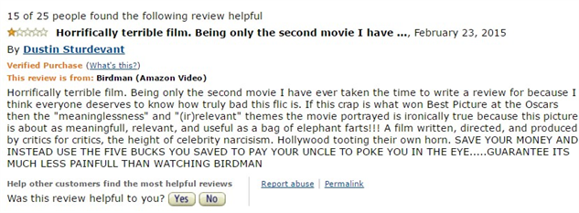 1-star-reviews-of-best-picture-winners birdman-amazon-review