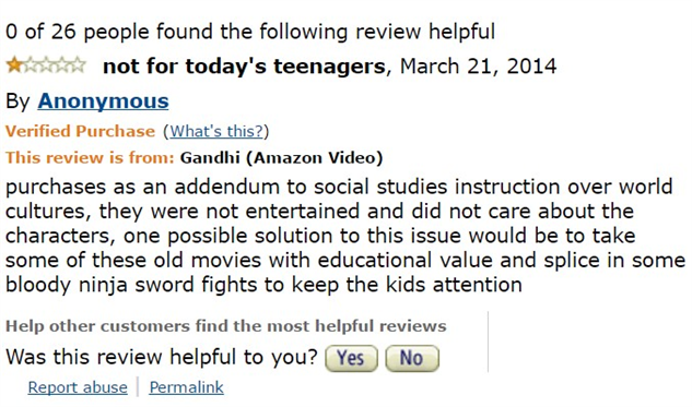 1-star-reviews-of-best-picture-winners ghandi-amazon-review