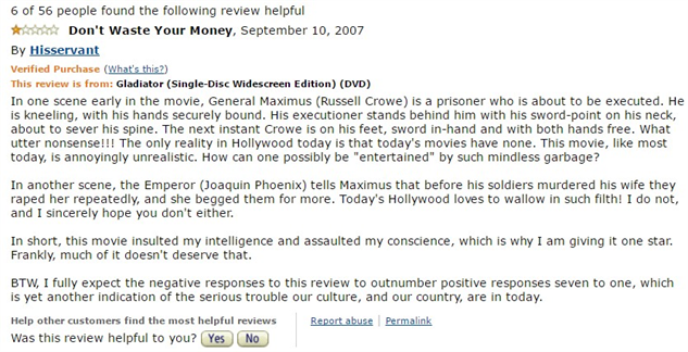 1-star-reviews-of-best-picture-winners gladiator-amazon-review
