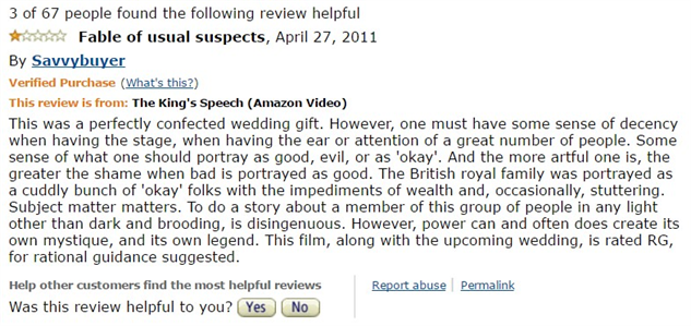 1-star-reviews-of-best-picture-winners kings-speech-amazon-review