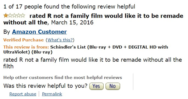 1-star-reviews-of-best-picture-winners schindlers-list-amazon-review