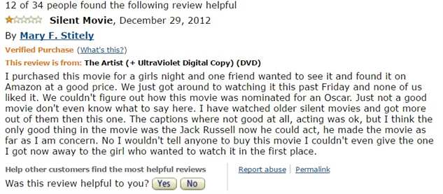 1-star-reviews-of-best-picture-winners the-artist-amazon-review