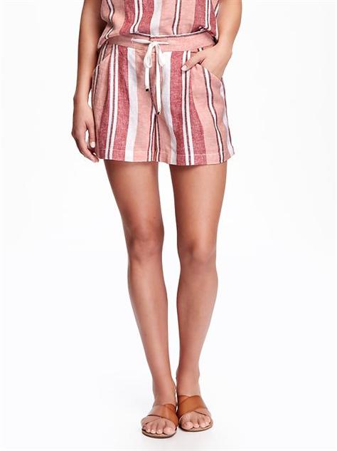 breezy-linen-shorts red