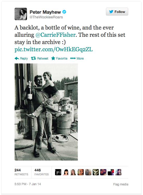 Chewbacca Actor Peter Mayhew Tweets Behind-the-Scenes Star