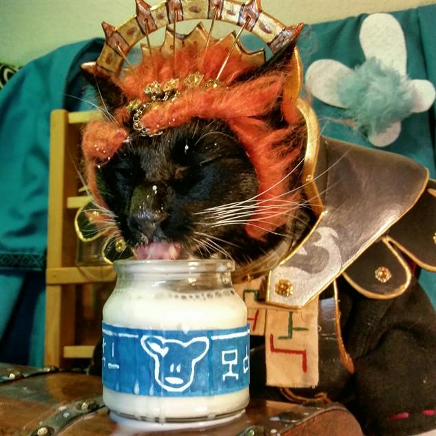 cosplay-cat ganon-drinking-milk
