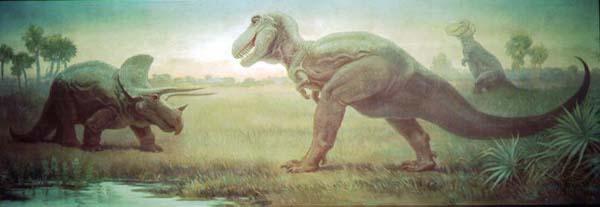 dinosaur-paleoart tyrannosaurus-and-triceratops