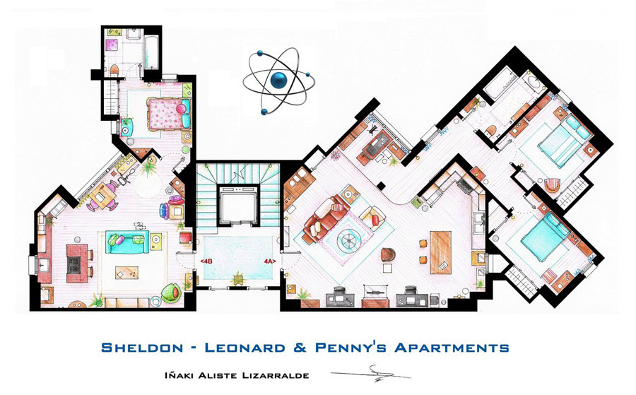 artist sketches the floor plans of popular tv homes :: design