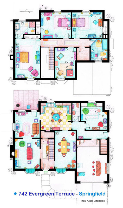 Artist sketches the floor plans of popular tv homes for Bob house plans