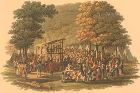 history-of-music-festivals methodist-camp-meeting-1819-engraving