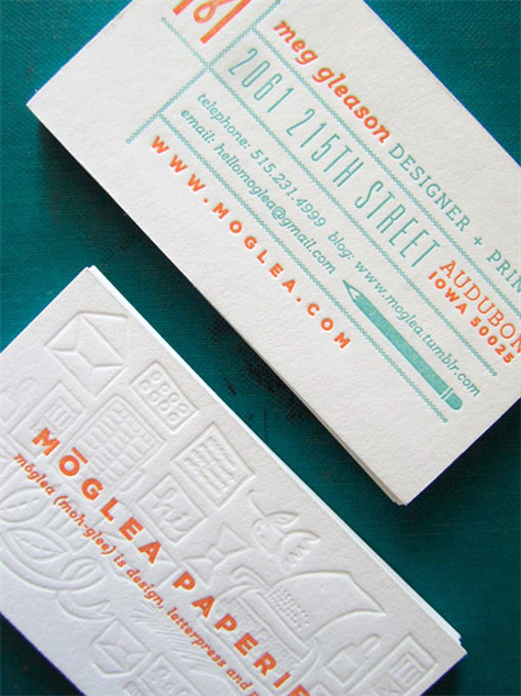 letterpress-business-cards orange-turquoise-letterpress-business-cards-meg-gleeson