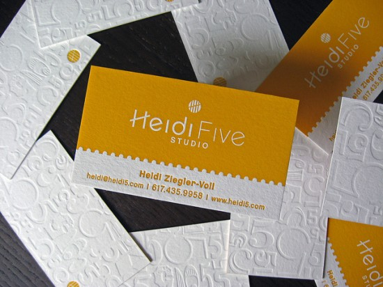 Show your depth 50 letterpress business cards design analogue letterpress business cards yellow white letterpress business card 550x412 colourmoves