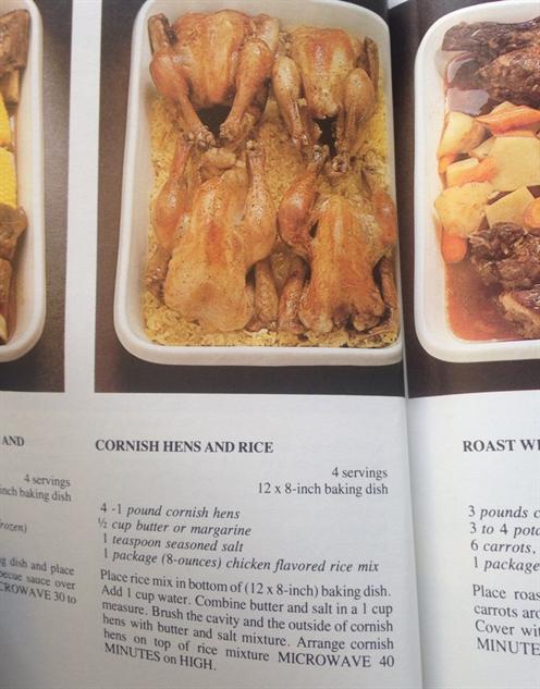 Microwave Cookbook Cornish Hens