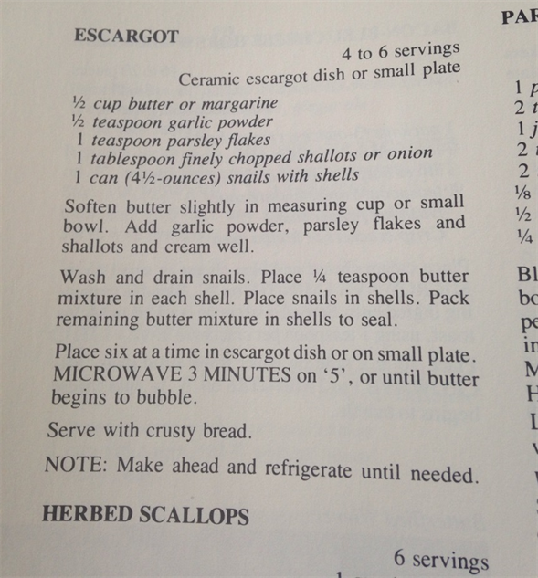 microwave-cookbook escargot