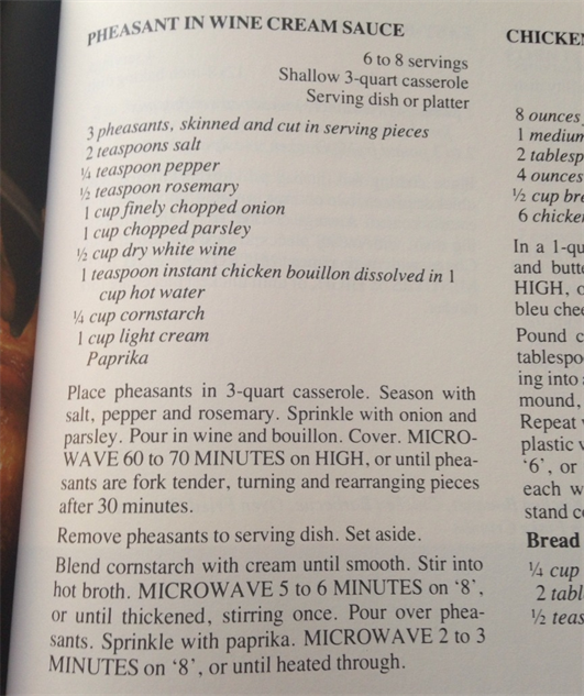 microwave-cookbook pheasant