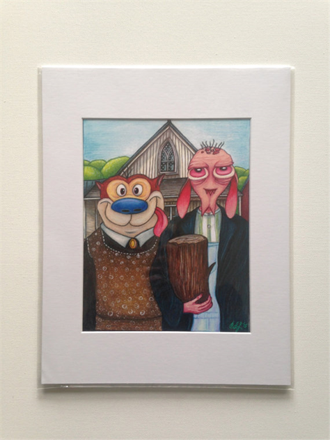 nickelodeon-etsy-finds a-ren--stimpy-american-gothic-by-dreambeef