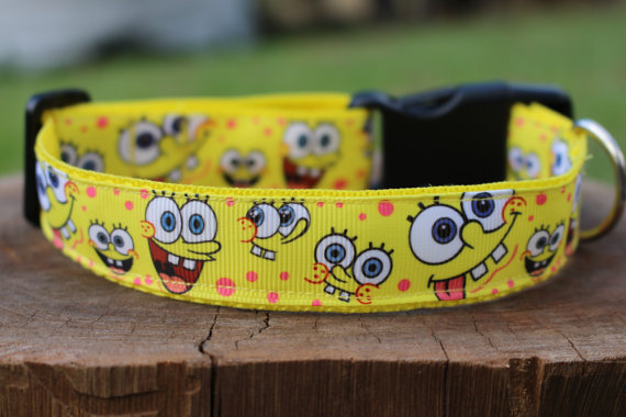 nickelodeon-etsy-finds spongebob-square-pants-dog-collar-by-poochemporium