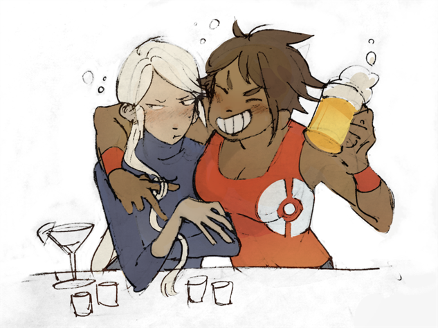 pokemon-go-fanart blanche-and-candela-drinking-smrth