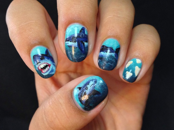 shark-nails sharknailart-celinedoesnails1