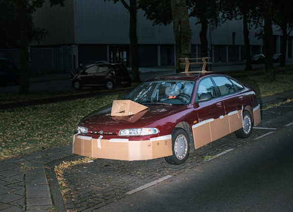 artist upgrades cars with cardboard comedy galleries. Black Bedroom Furniture Sets. Home Design Ideas