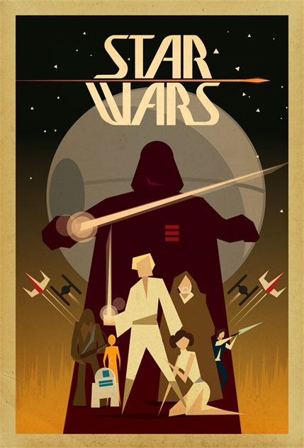 star-wars-force retrostarwarsposterbytrevorbrennan
