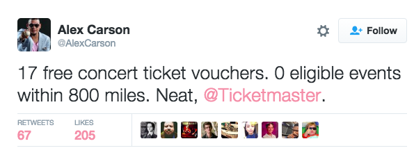 People are Mad Online About Their Ticketmaster Vouchers